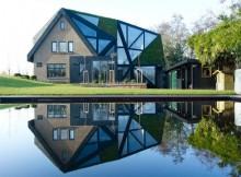 Дом у пруда с необычной крышей (1)