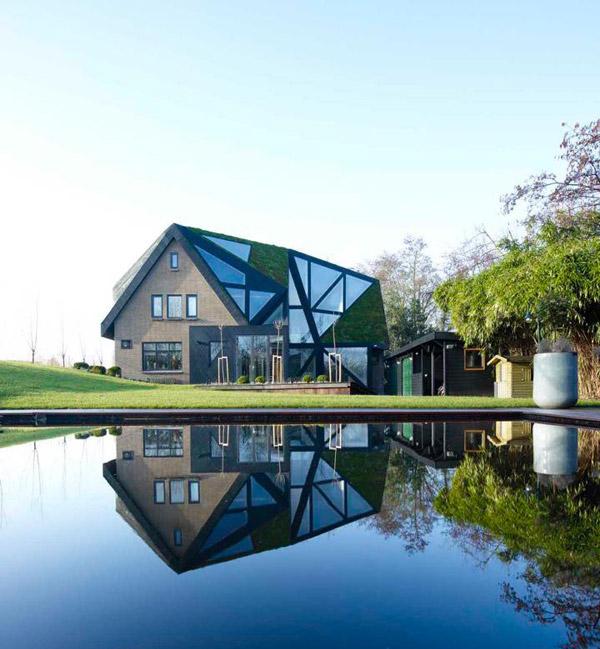 загородный дом с авангардными зенитными фонарями фото 1
