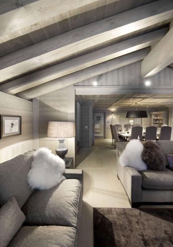 Альпийское шале - фото гостиной
