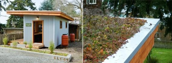 домик с газонной крышей