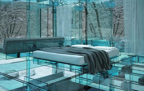 Дом из стекла Santambrogio - спальня