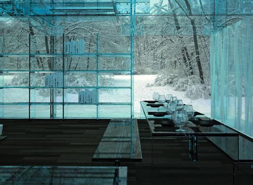 Дом из стекла Santambrogio - столовая
