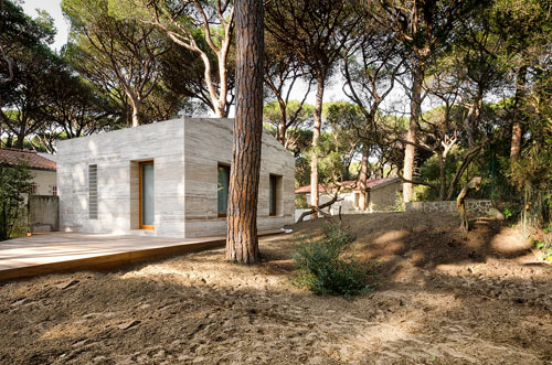 загородный дом с фасадом из травертина фото 2