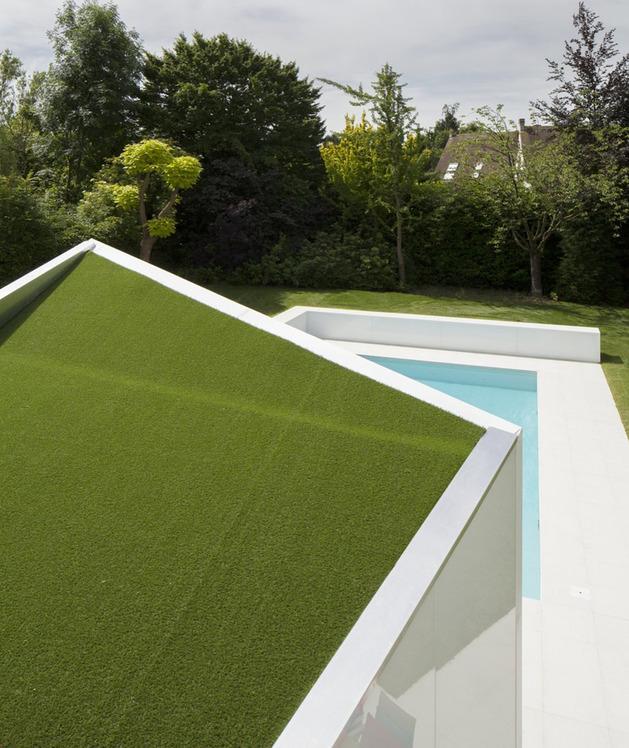зеленая крыша дома с мансардой