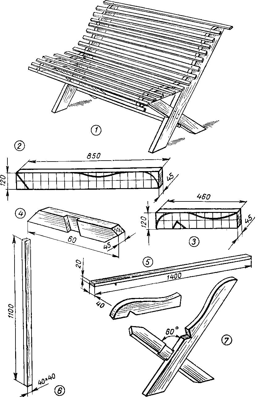 Скамейка садовая деревянная своими руками чертежи