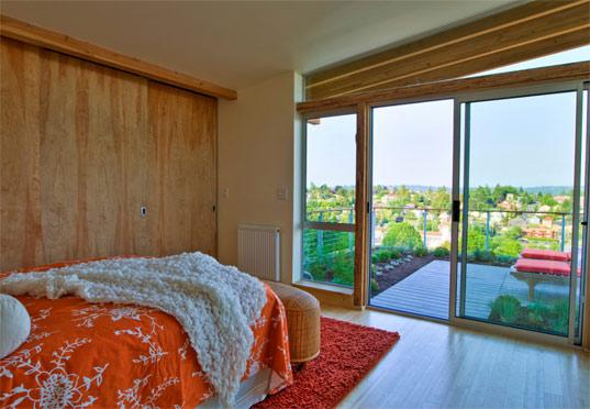 Ярко-зеленый дом спальня