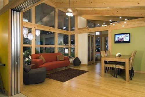 Современный модульный дом в экологическом стиле по проекту FabCab - гостиная