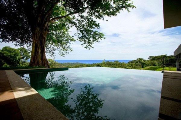 дом с зеленой крышей - бассейн