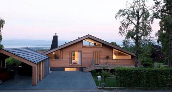 проект дома на рельефе в Швейцарских Альпах