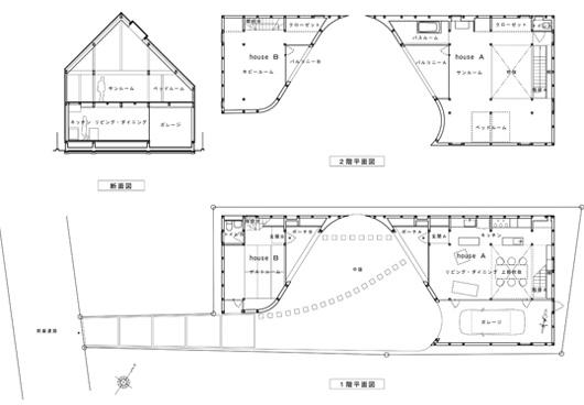 Двухэтажный дом по проекту Акио Накаса - поэтажный план
