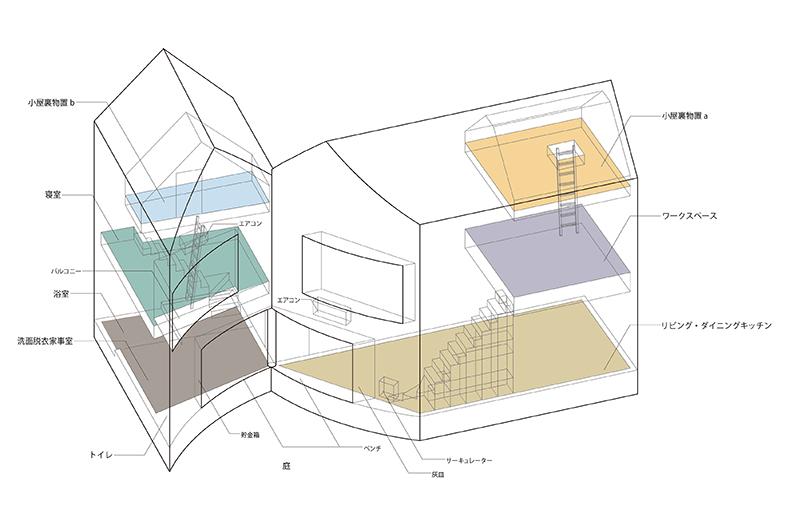 План дома из бетона разделенного на две части
